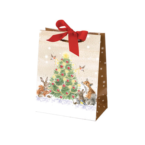 Wrendale Large Christmas Gift Bag - Snowman + Christmas Tree