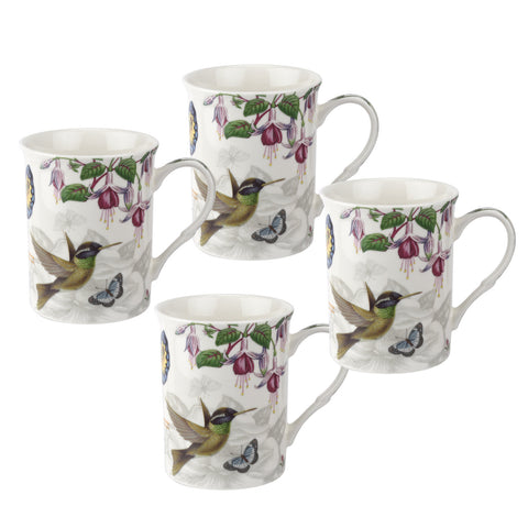 Botanic Hummingbird Gift Boxed Set of 4 Mugs