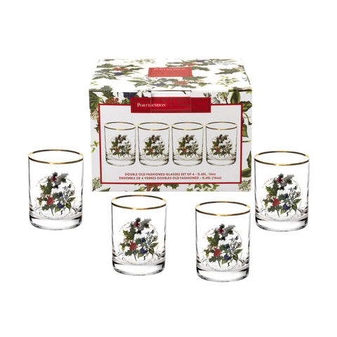 The Holly & the Ivy Double Old Fashioned ( DOF ) Glass  ( Gift Box Set of 4 )
