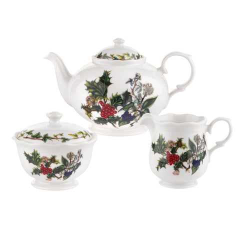 The Holly & the Ivy 3 Piece Tea Service - Teapot, Cream & Sugar