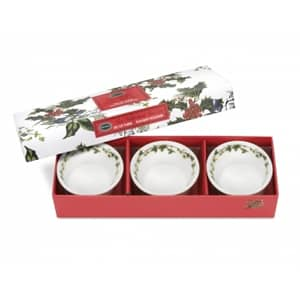 The Holly & the Ivy Tealight Holder / Dip Dish  ( Gift Box Set of 3 )