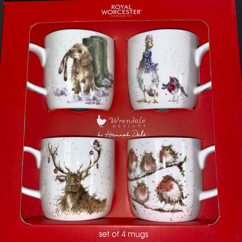 Wrendale Christmas Mugs Box Set of 4 - Dog, Duck & Robin, Deer and Robins