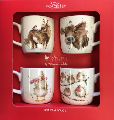 Wrendale Christmas Mugs Box Set of 4 - Pony, Cow, Goose and Robins