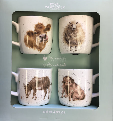 Wrendale Box Set of 4 Mugs Cow Sheep Donkey and Pig