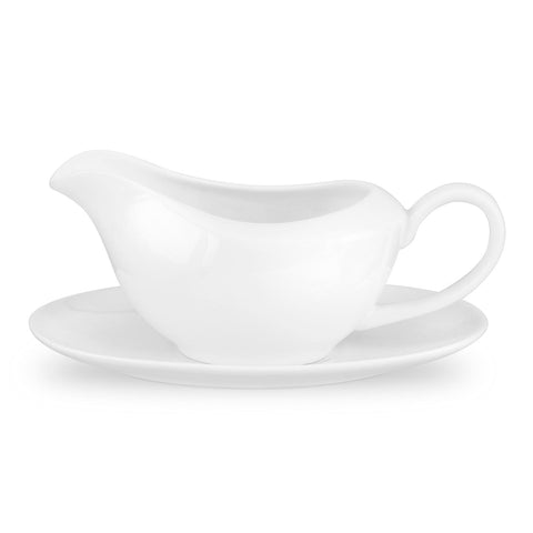 Royal Worcester Serendipity Gravy Boat and Stand - White