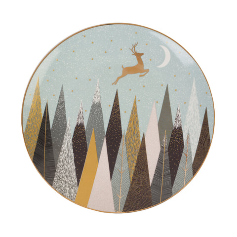 Sara Miller Cake Plates Set of 4 Frosted Pines
