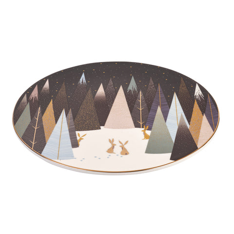 Sara Miller Serving Plate Frosted Pines Rabbit