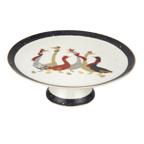 Sara Miller Footed Cake Stand - Geese Christmas Collection