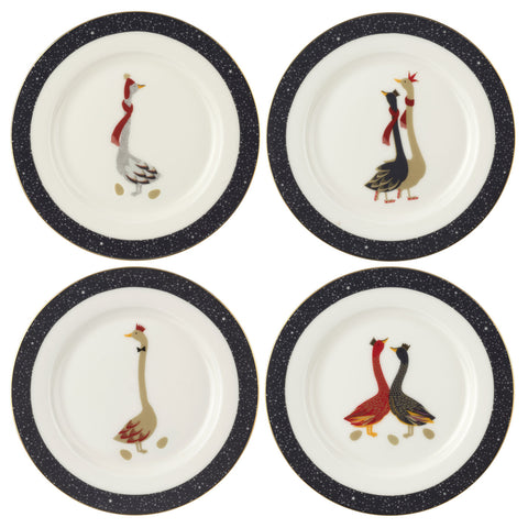 Sara Miller Cake Plates Geese Christmas Collection - Geese ( Box set of 4 )