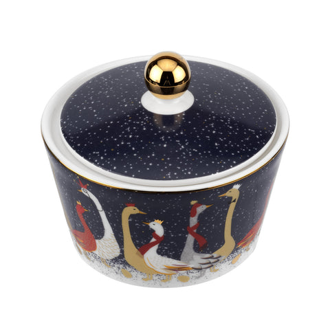 Sara Miller Lidded Bowl - Geese Christmas Collection