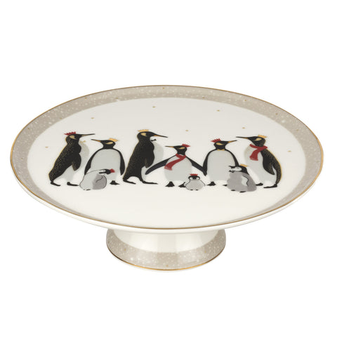 Sara Miller Footed Cake Stand - Penguin Christmas Collection