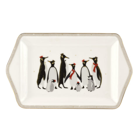 Sara Miller Dessert Tray - Penguin Christmas Collection