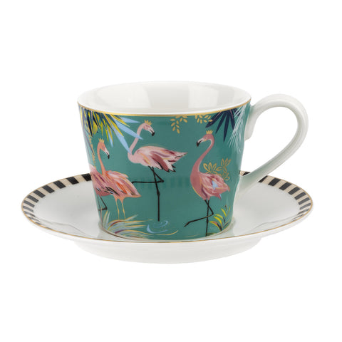 Sara Miller Teacup & Saucer Tahiti Collection Flamingo