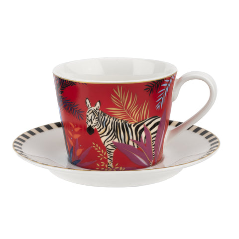 Sara Miller Teacup & Saucer - Tahiti Collection - Zebra