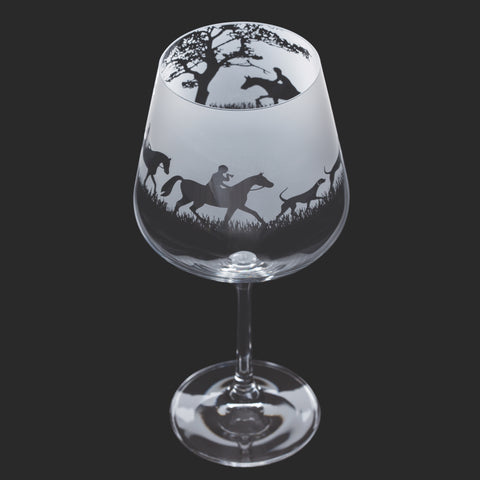 Dartington Crystal Aspect Gin Copa / Wine Glass Hunting Scene