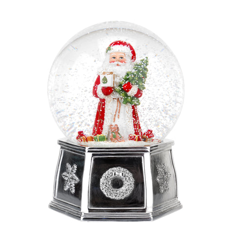 Spode Christmas Tree Musical Santa Snow Globe