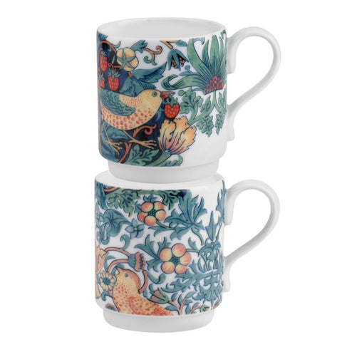 Morris & Co - Strawberry Thief Stacking Mugs - Set of Two