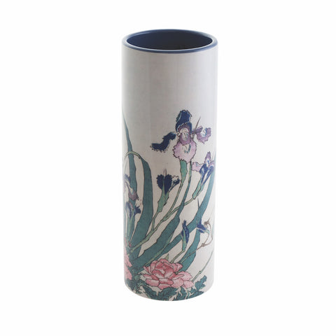 John Beswick Museum Collection Medium Vase - Hokusai Iris, Peonies & Sparrows