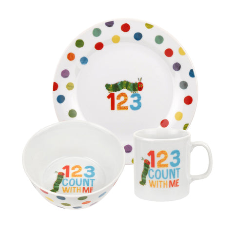 The Very Hungry Caterpillar Ceramic 3 Piece Set - Numbers 123
