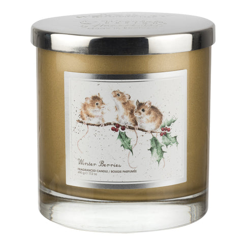 Wrendale 2 Wick Wax Filled Glass with Silver Lid (Mice) - Winter Berries