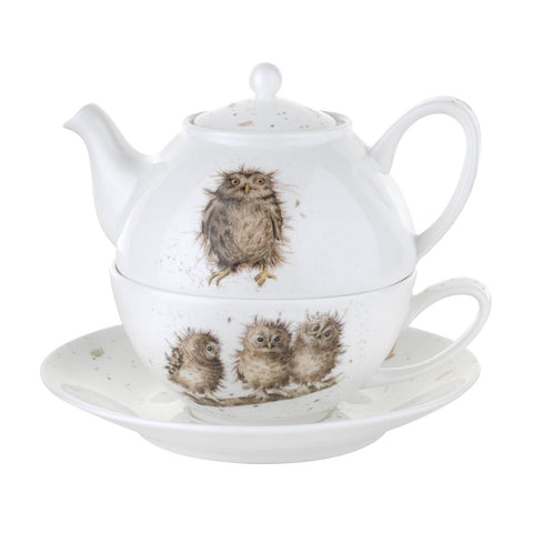 Wrendale Tea For One with Saucer - Owls