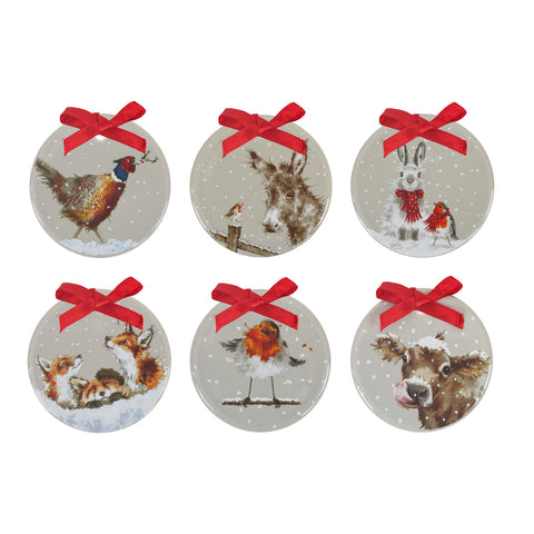 Wrendale Grey Glaze Christmas Decorations Set of 6