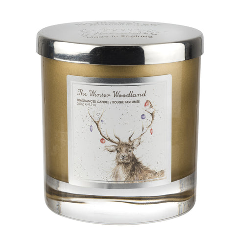 Wrendale Wax Filled Glass with Silver Lid (Stag) - The Winter Wonderland
