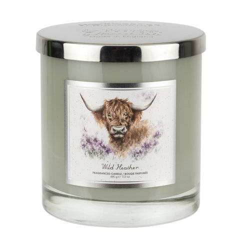 Wrendale 2 Wick Wax Filled Glass with Silver Lid (Highland Cow) - Wild Heather