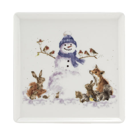 Wrendale Square Plate Christmas Collection - Snowman ( SORRY SOLD OUT, NO MORE AVAILABLE )