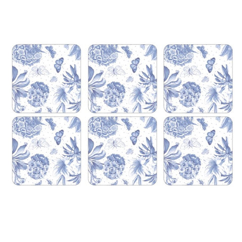 Botanic Blue Coasters  ( Box Set of 6 )