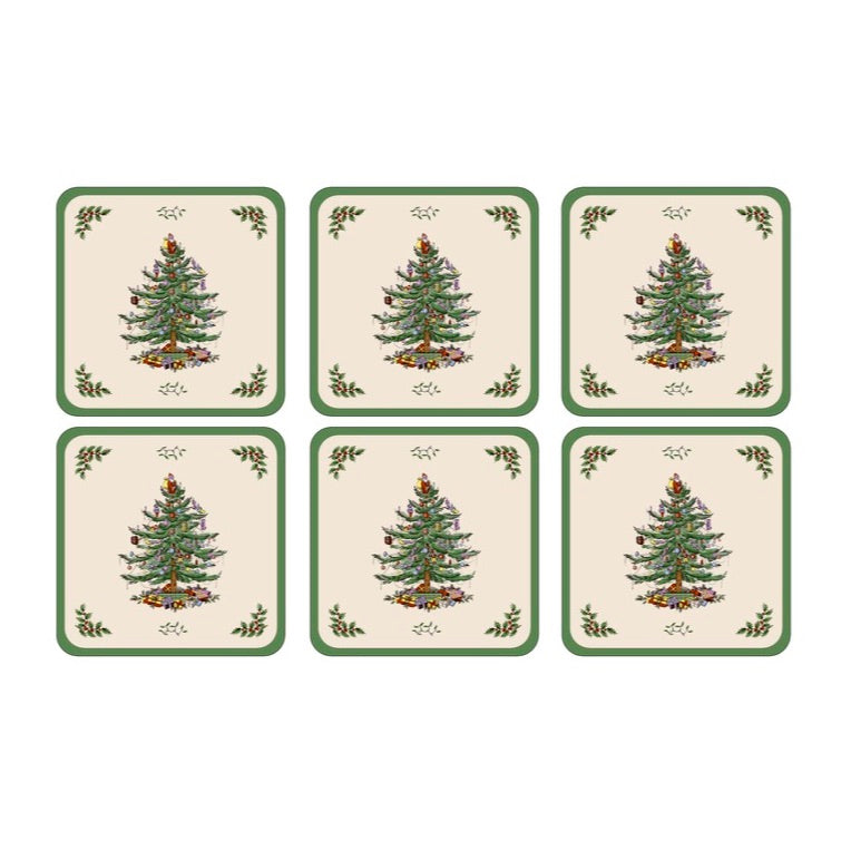 Spode Christmas Tree Coasters Set of 6