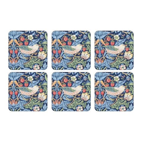 Morris & Co Strawberry Thief Blue Coasters Set of 6