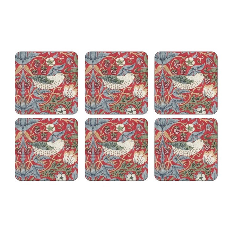 Morris & Co Coasters Set of 6 Strawberry Thief Red