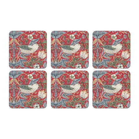 Morris & Co Strawberry Thief Red Coasters Set of 6