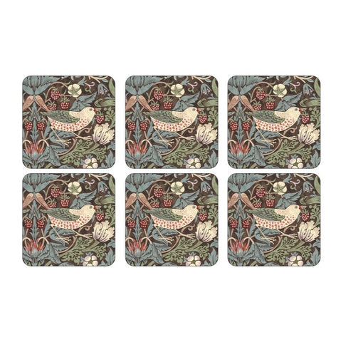 Morris & Co Strawberry Thief Brown Coasters Set of 6