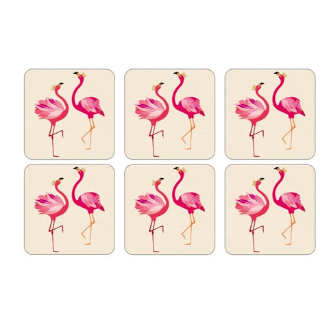Sara Miller Set of 6 Coasters - Flamingo Collection