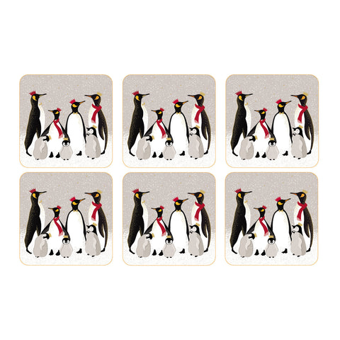 Sara Miller Set of 6 Coasters - Penguin Christmas Collection
