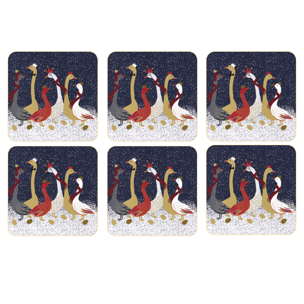 Sara Miller Set of 6 Coasters - Geese Christmas Collection