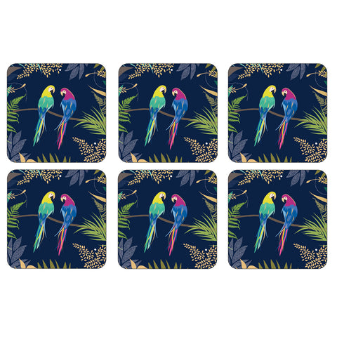 Sara Miller Parrot Collection Coasters  ( Box Set of 6  )