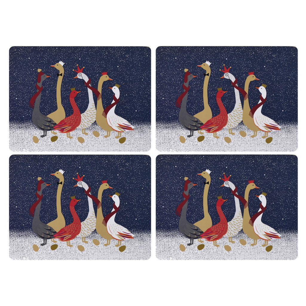 Sara Miller Set of 4 Placemats - Geese Christmas Collection