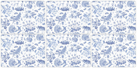 Botanic Blue Placemats  ( Box Set of 6 )