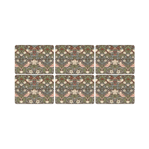 Morris & Co Strawberry Thief Brown Placemats ( Set of 6 )