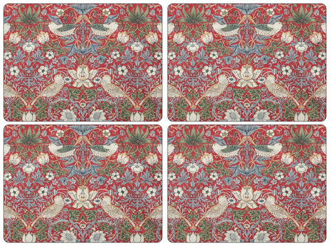 Morris & Co Strawberry Thief Red Extra Large Placemats ( Set of 4 )