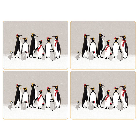 Sara Miller Set of 4 Extra Large Placemats - Penguin Christmas Collection