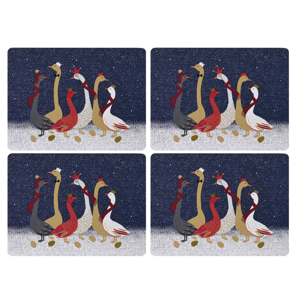 Sara Miller Set of 4 Extra Large Placemats - Geese Christmas Collection