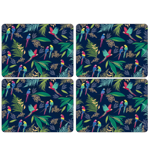 Sara Miller Parrot Collection Extra Large Placemats  ( Box Set of 4 )