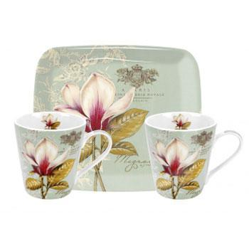 Vintage Toile Mini Mugs & Tray Set
