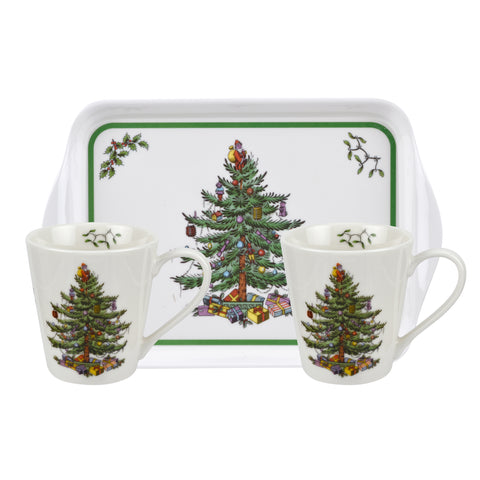 Spode Christmas Tree Mini Mugs & Tray Set