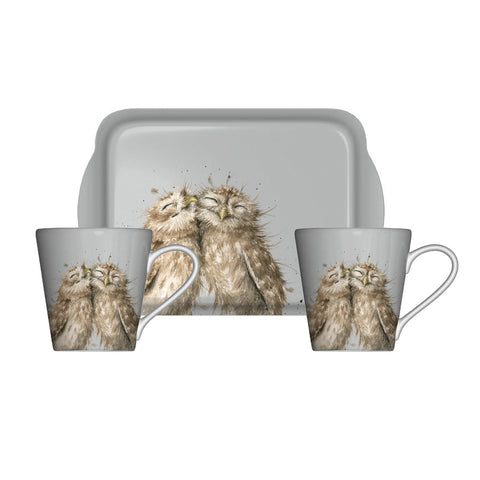 Wrendale Mini Mugs & Tray Set - Owl