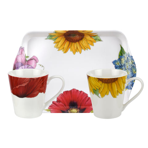 Botanic Blooms  Mini Mugs & Tray Set  ( Sunflower / Poppy )